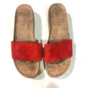 Donald Pliner red suede Fiji sandal shoes 10
